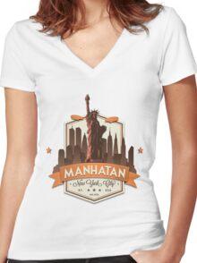 Manhatan Retro-style Badge (Inspired by Fringe) Women's Fitted V-Neck T-Shirt