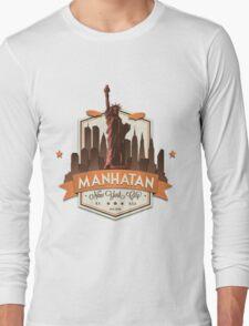 Manhatan Retro-style Badge (Inspired by Fringe) Long Sleeve T-Shirt