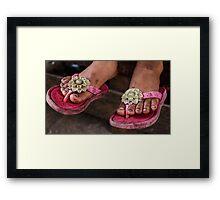 Pink sandals Framed Print