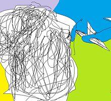 Female Head/Day Dreamer -(080214)- Digital artwork/MS Paint by paulramnora