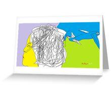 Female Head/Day Dreamer -(080214)- Digital artwork/MS Paint Greeting Card