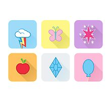 My Little Pony - Mane Six Flat Icons by grischa808