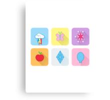 My Little Pony - Mane Six Flat Icons Canvas Print
