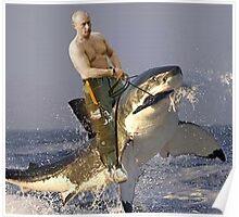 Vladimir Putin the shark rider Poster