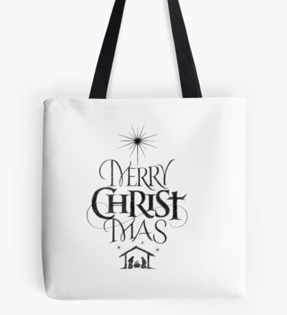 Religious Christian Calligraphy Merry Christmas Christ Mas Sketched Jesus Nativity Tote Bag