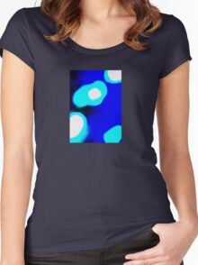 Blue White Abstract Women's Fitted Scoop T-Shirt