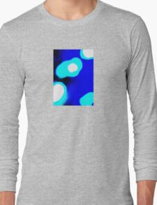 Blue White Abstract Long Sleeve T-Shirt