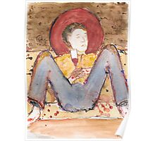 Icon of casual young man drinking red wine at a party Poster