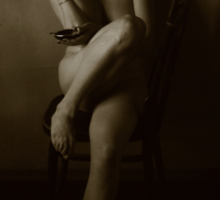 Naked girl with cigarette Sticker