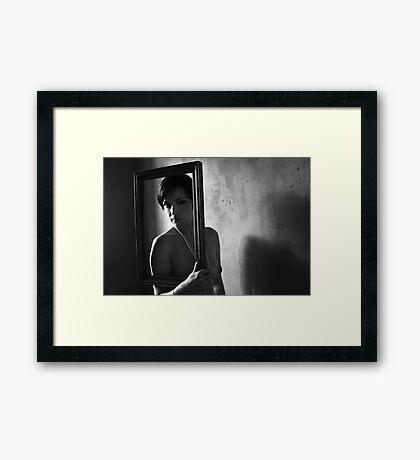 Naked girl in frame Framed Print