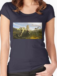 Spinosaurus & Fish by Brian engh Women's Fitted Scoop T-Shirt