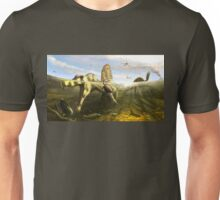 Spinosaurus & Fish by Brian engh Unisex T-Shirt
