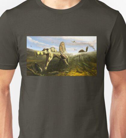 Spinosaurus & Fish by Brian engh Unisex T-Shirt