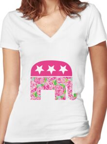 (Lilly Pulitzer-esque) Preppy Republican Women's Fitted V-Neck T-Shirt