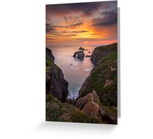 Cornwall - Arched Rock Sunset Greeting Card
