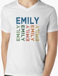 Emily Cute Colorful Mens V-Neck T-Shirt