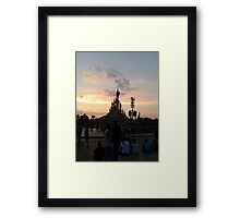 Sunset Over Castle And Park Framed Print