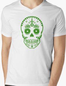 Sugar Skull 0001 Green Mens V-Neck T-Shirt
