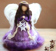 Needle Felted Angel with a Star by CloudberryCraft