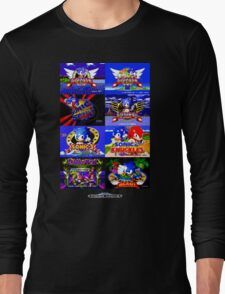 Sonic Mega Drive Title Screens (Europe Logo) Long Sleeve T-Shirt