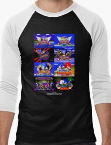 Sonic Mega Drive Title Screens (Europe Logo) Men's Baseball ¾ T-Shirt