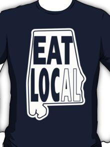 Eat local white print T-Shirt