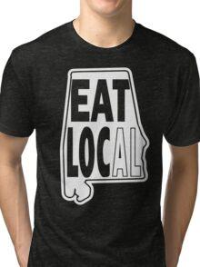 Eat local white print Tri-blend T-Shirt
