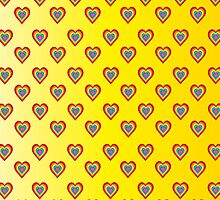 Colorful hearts on yellow background  by shoppy76
