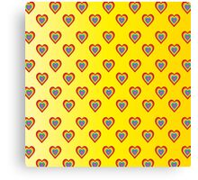 Colorful hearts on yellow background  Canvas Print