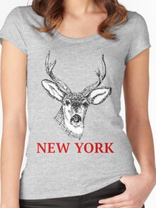 Dan Smith Stag Jumper Design Women's Fitted Scoop T-Shirt