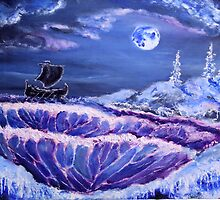 Mystic moon landscape (oil painting for posters and prints) by konovalenko