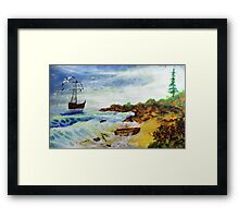 Seascape with old boat (oil painting for posters and prints) Framed Print