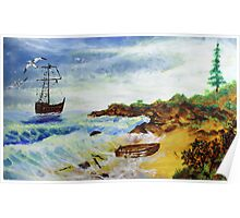 Seascape with old boat (oil painting for posters and prints) Poster
