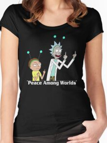 RICK AND MORTY SHIRT - PEACE AMONG WORLDS Women's Fitted Scoop T-Shirt