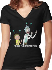 RICK AND MORTY SHIRT - PEACE AMONG WORLDS Women's Fitted V-Neck T-Shirt
