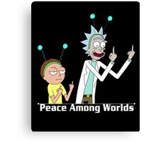 RICK AND MORTY SHIRT - PEACE AMONG WORLDS Canvas Print