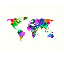 VIBRANT MAP of the WORLD Art Print