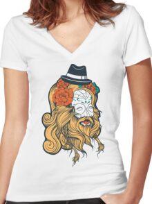 Cool Beard Women's Fitted V-Neck T-Shirt