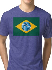 Brazil flag with ball Tri-blend T-Shirt