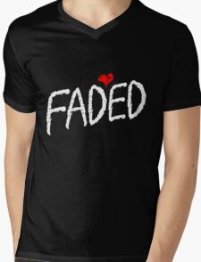 Faded <3 - White Mens V-Neck T-Shirt