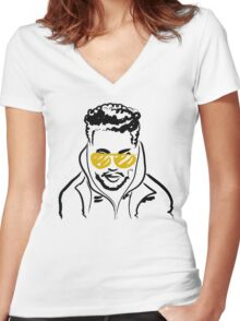 Drawing of The Weeknd Women's Fitted V-Neck T-Shirt
