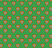 Colorful hearts on green background  by shoppy76