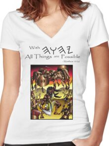 Sampson (With YHWH all things are Possible) Women's Fitted V-Neck T-Shirt