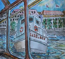 Watercolor Sketch - Tour Boats in Hamburg by Igor Pozdnyakov
