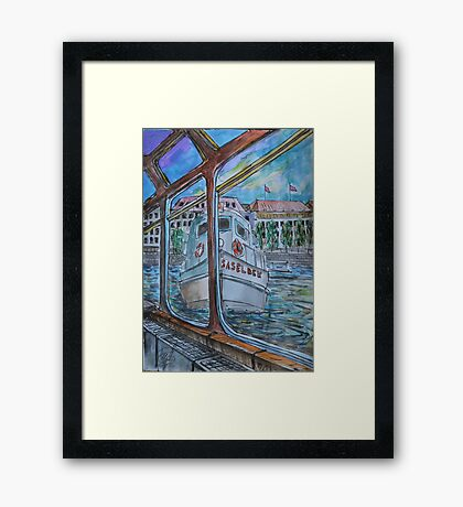 Watercolor Sketch - Tour Boats in Hamburg Framed Print