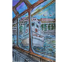 Watercolor Sketch - Tour Boats in Hamburg Photographic Print