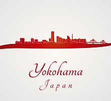 Yokohama skyline in red by Pablo Romero
