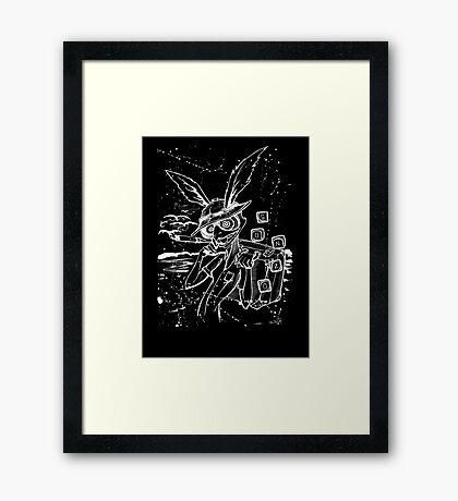 Down The Rabbit Hole (white) Framed Print