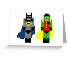 Pixel Batman and Robin Greeting Card