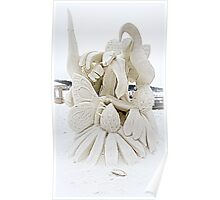 Flowers And Butterfly Snow Sculpture Poster
